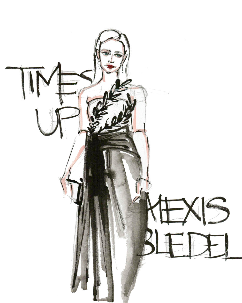 Victoria-Riza Fashion Illustrator | Golden Globes Time's Up | Alexis Bledel