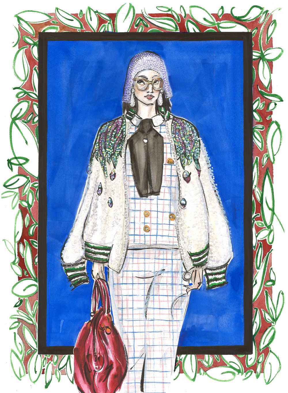 This illustration is based off of a look from Gucci Spring 2018 RTW  collection . The illustration was created on 140 lb Arches hot press watercolor paper with watercolor, gouache, ink, chalk pastels, and pencil.