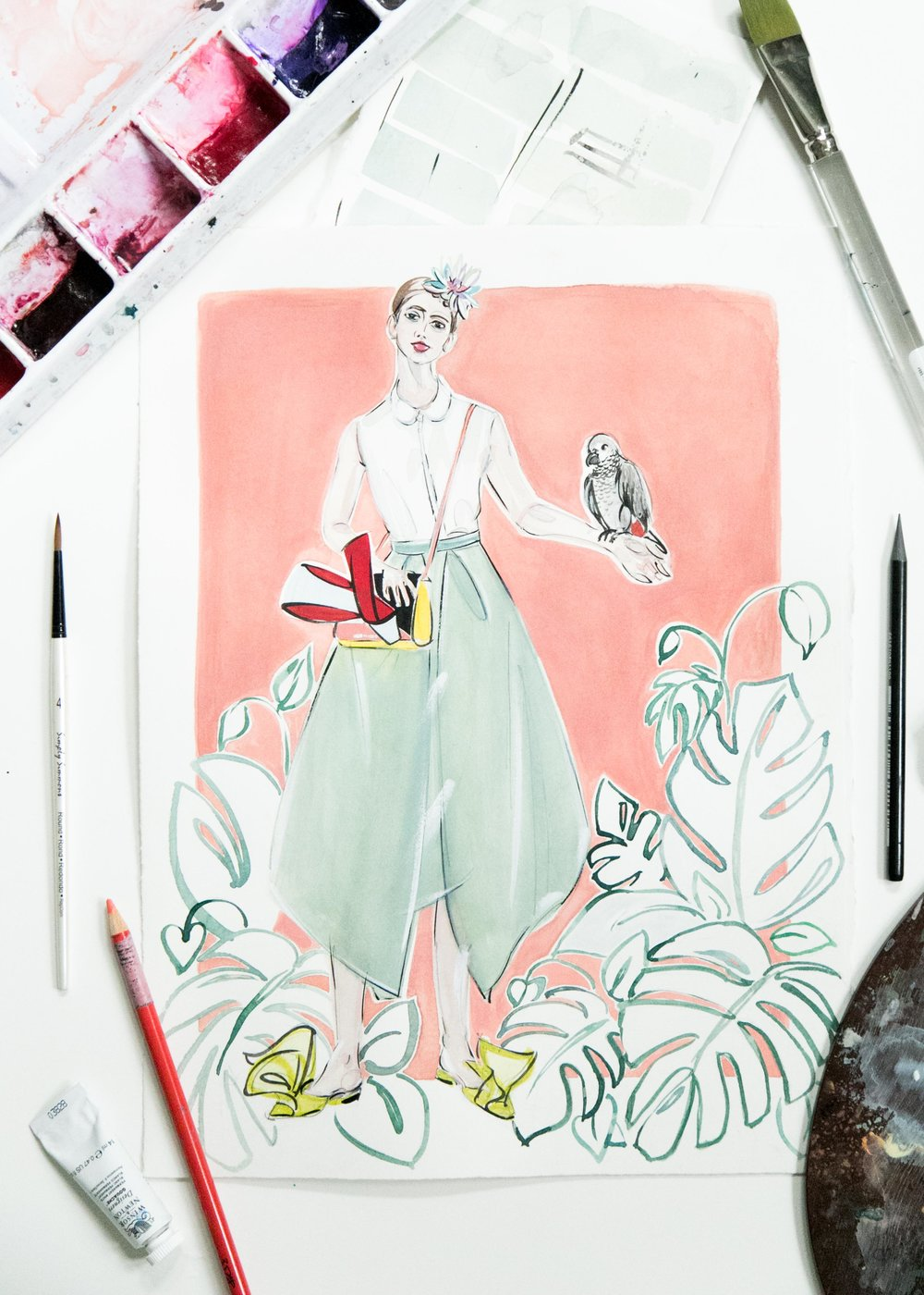 This illustration is based off of a look from Delpozo Pre-Fall 2018  collection . The illustration was created on 140 lb Arches hot press watercolor paper with watercolor, gouache, ink, chalk pencil, and pencil.