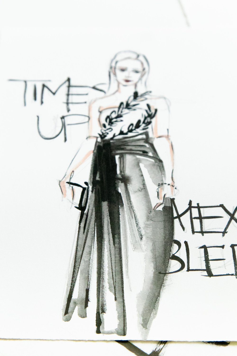 Victoria-Riza Fashion Illustrator | Golden Globes Time's Up