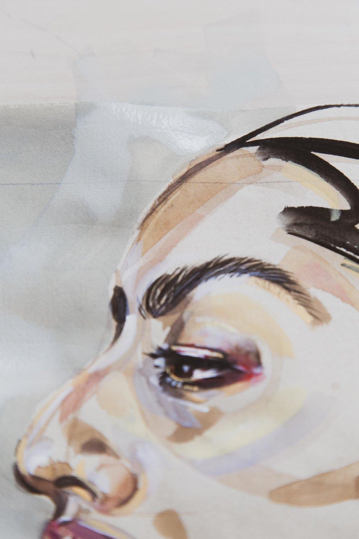 Victoria-Riza Fashion Illustrator and Artist   Beauty portrait in watercolor and gouache on nideggen paper
