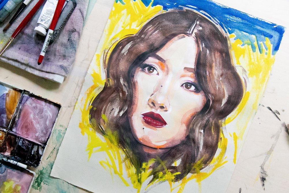 Victoria-Riza Fashion Illustrator   Constance Wu star of Crazy Rich Asians