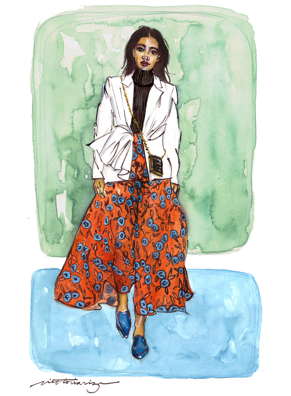 This illustration is created based off of the Carolina Herrera's Fall 2019 RTW collection. It was painted on Archer's hot press 140 lb. watercolor paper with watercolors, gouache, and touches of sakura ink and  Derwent Pastel pencils .   I am an affiliate of the Blick Art Materials Program and may receive commission from sales from the links above.