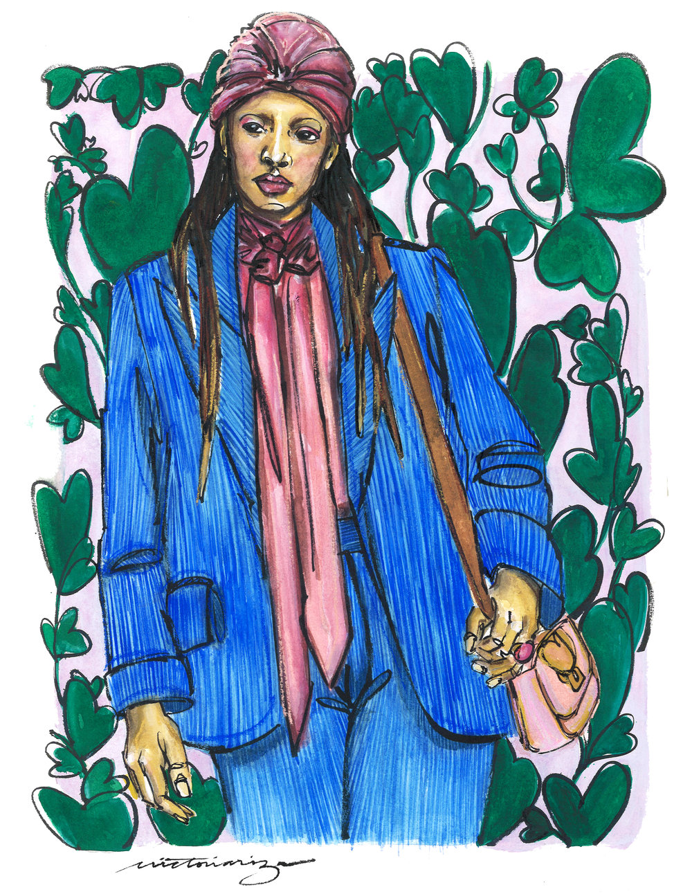 This illustration is based off of the Kate Spade Fall 2019 RTW collection. it was created on white  Magnani Pescia  paper with watercolor, gouache, Sakura ink, and  Rembrandt soft pastels .   DISCLOSURE: I am an affiliate of the Blick Art Materials Program and receive commission from sales from the links above.