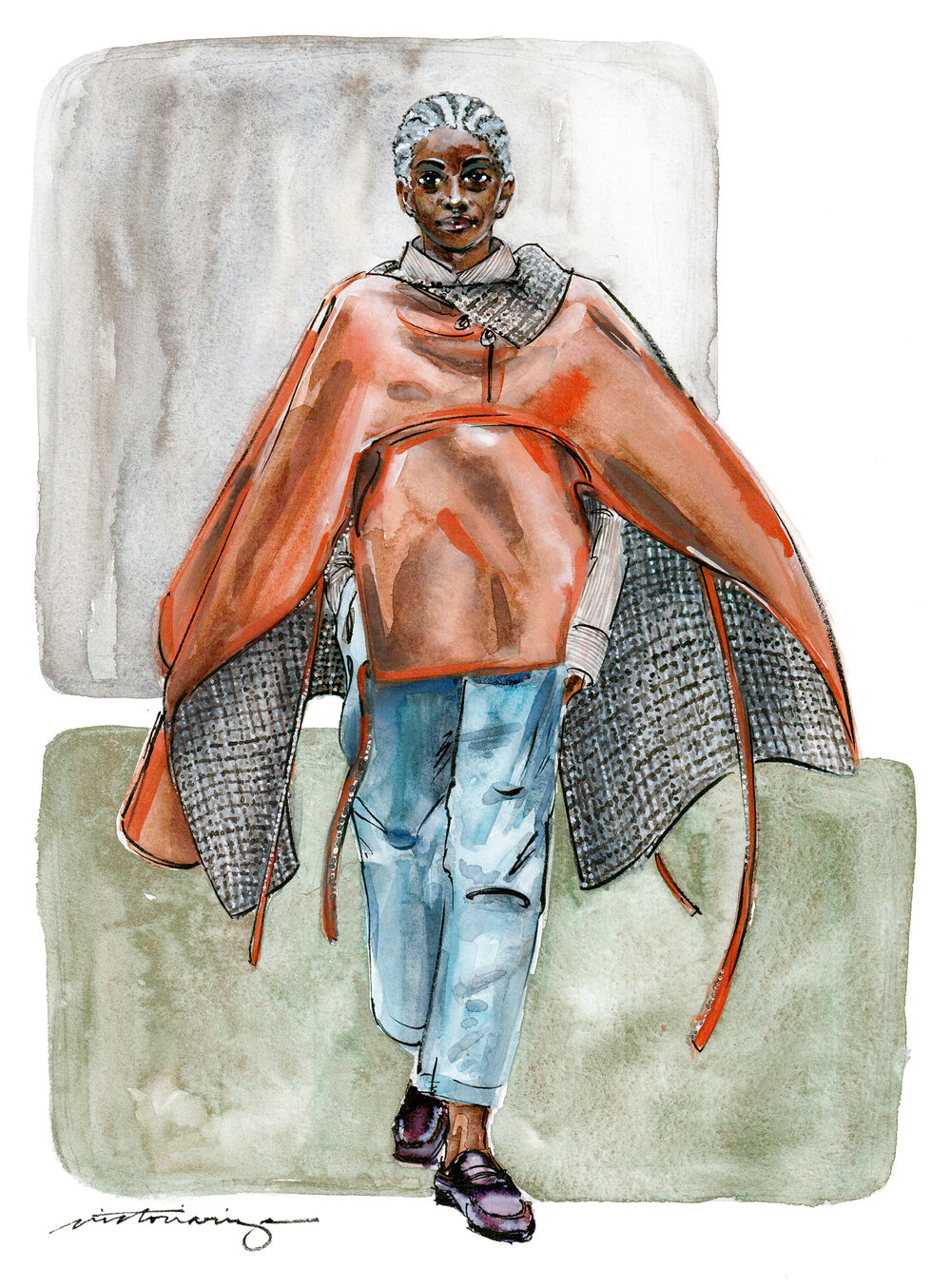 This illustration was painted on white  Magnani Pescia  paper with watercolor and gouache, finishing the illustration off with an  Ink Pen Brush . The illustration is based off of Tommy Ton's Fall 2019 RTW collection for Deveaux.   DISCLOSURE: I am an affiliate of the Blick Art Materials Program and receive commission from sales from the links above.