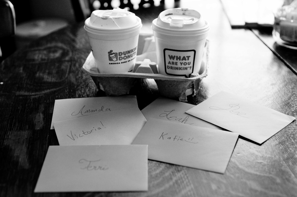 All the guys wrote notes to the ladies and Brian delivered them with Hot Chocolate the morning of the wedding~ Gah  LOVE