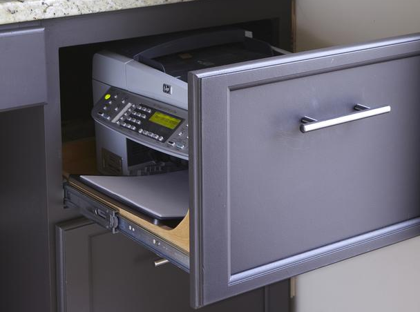 Get that clunky printer out of sight. HGTV