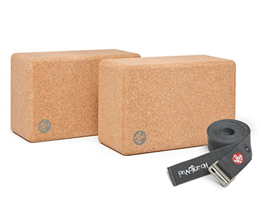 Cork Yoga Blocks - Support your practice with a strong foundation. Cork blocks are the best option for new and seasoned students. Manduka 2 Yoga Blocks Set. Comes with a bonus 10 foot Yoga Strap.