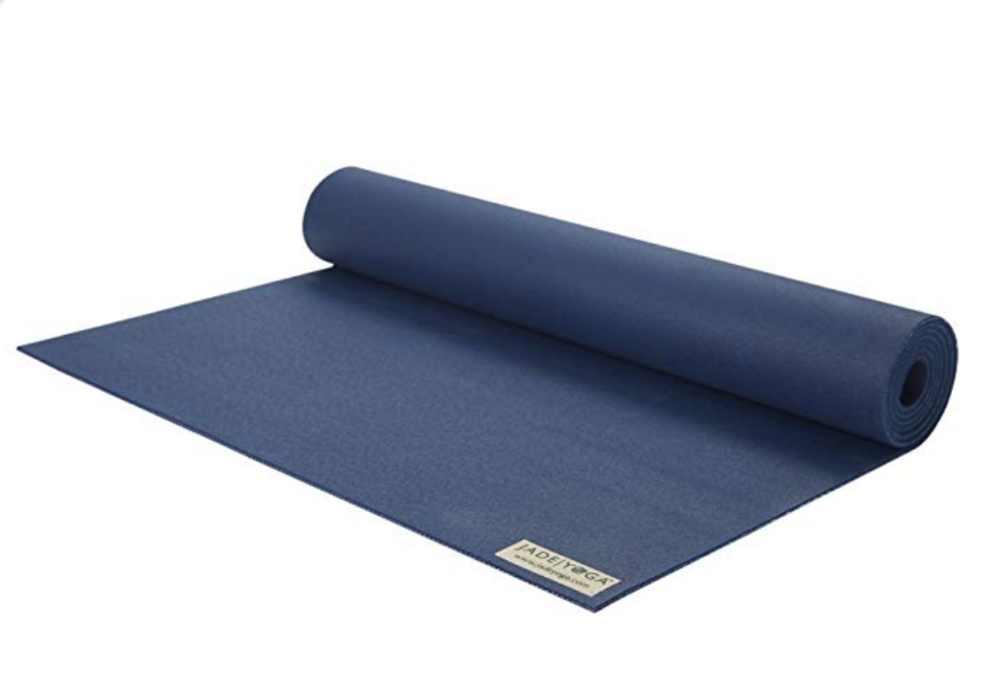 Yoga Mat - Jade Yoga Mat. Comes in many colors and provides nice padding and grip for new and seasoned yogis. Made of natural rubber, a renewable resource.