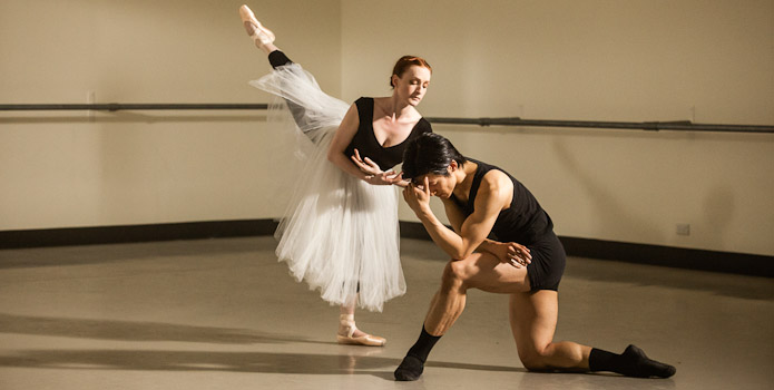 The powerful Act 2 pas de deux was filmed in a small intimate studio.