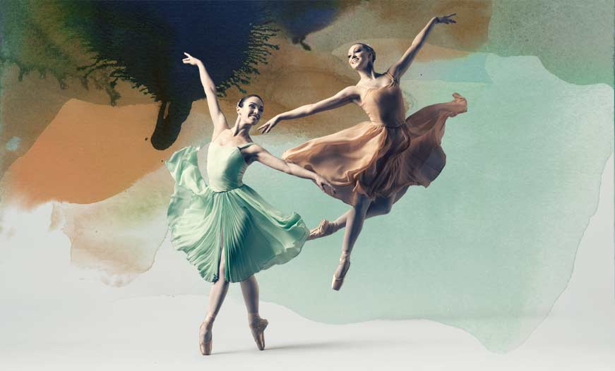 Poster girls Clytie Campbell and Hayley Donnison in Allegro Brillante
