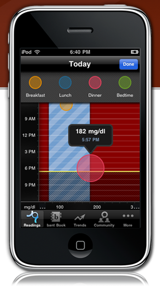 Bant Diabetes Monitoring App for the iPhone and iPod Touch    My worlds collide: Community Benefit (Chronic disease management) and a slick new iPhone app.   (via)  DaringFireball