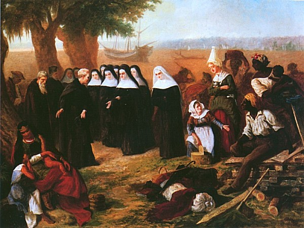Landing of the Ursulines , by Paul Poincy, depicts Mother St. Augustin Tranchepain and the other Sisters of St. Ursula who landed in New Orleans in 1727. They founded the first Catholic hospital in the United States.    I believe this is a painting of the first community needs assessment.