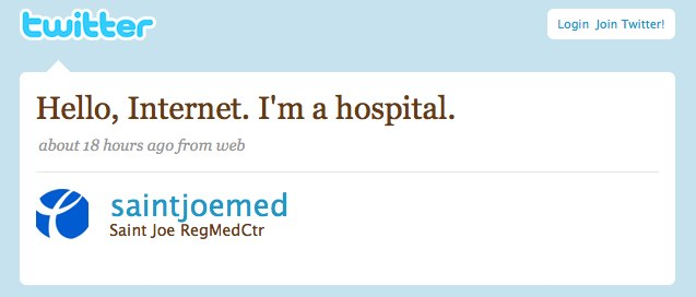 FYI: My hospital is now on twitter.
