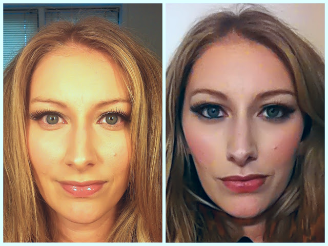 Left: example of my day makeup   Right: adding eyeliner, more blush, a bit of bronzer, and a dark lip for night