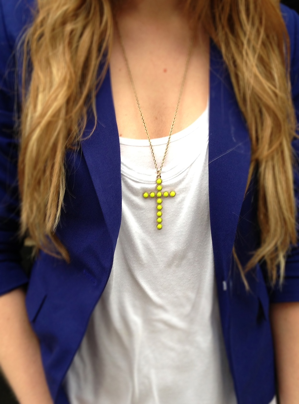 Great cross necklace for a pop of color