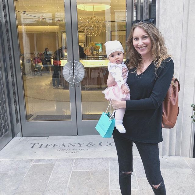 Never too young for Tiffany's 😉 Bought Leila her first piece of fine jewelry (that mommy will wear and keep safe, duh) #spoiledlife #tiffanyandco #beverlyhills #rodeodrive #LeilaRose #babygirlgonzo