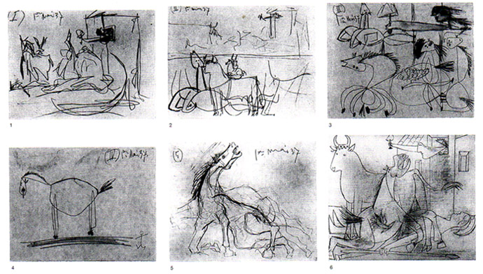 "Study for ""Guernica"" - 1937 Revealing the process behind the masterpiece http://www.all-art.org/art_20th_century/picasso11.html"