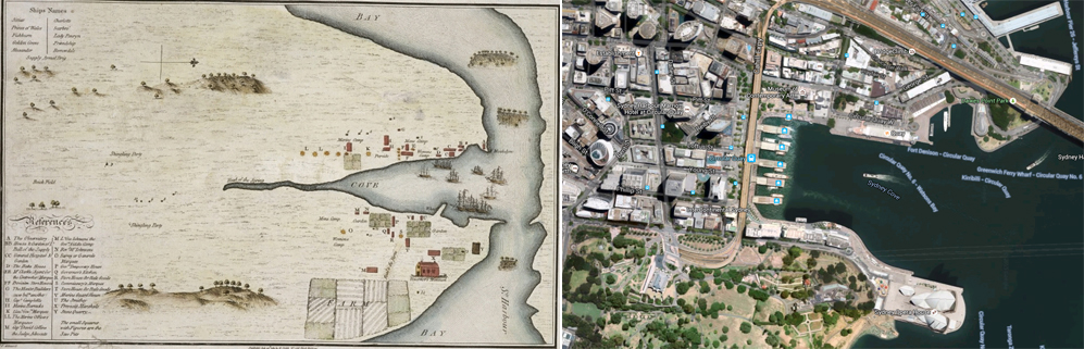 Historic Map of Sydney Cove , courtesy of State Library NSW, compared to image from Google Maps of Sydney today