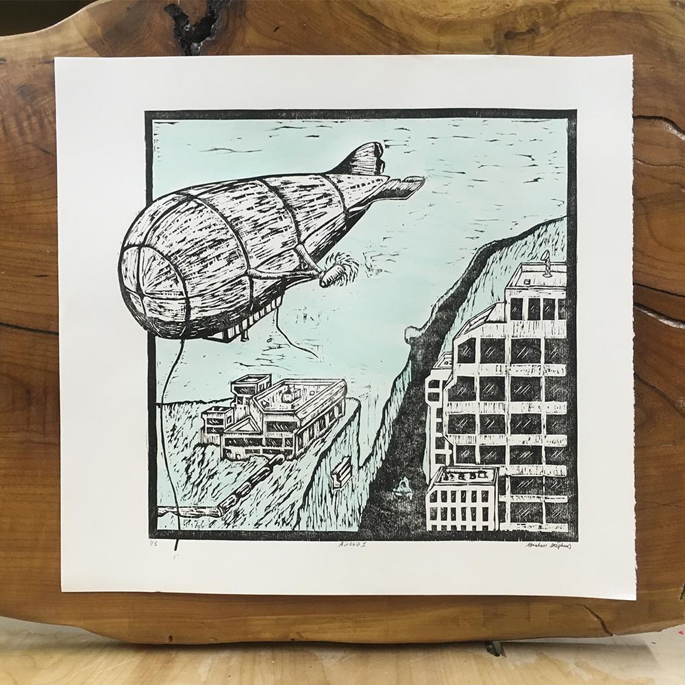 Airship   Woodblock print