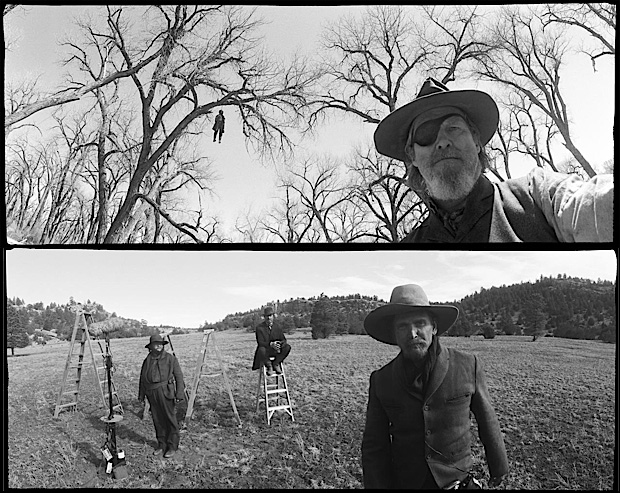 photojojo :      Who knew The Dude was a photographer?   The   T    rue Grit  iPad app  features photos taken by Jeff Bridges on the set of the movie with his 35mm Widelux camera.     Jeff Bridges' Photographs of True Grit      (Yup, that's a self portrait up top!)