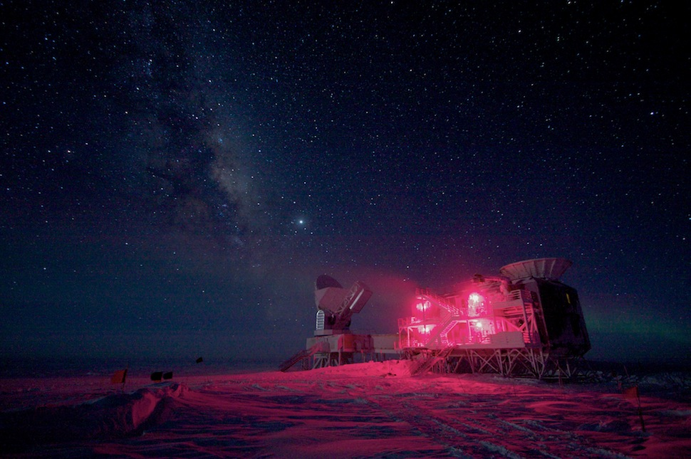 ianbrooks :       The 10-meter South Pole Telescope and the BICEP (Background Imaging of Cosmic Extragalactic Polarization) Telescope at Amundsen-Scott South Pole Station, against the night sky with the Milky Way. The red lights are used to minimize light pollution, but still enable people to see while walking to and from the facility during the six months of darkness. Both of these telescopes collect data on cosmic microwave background radiation and black matter.