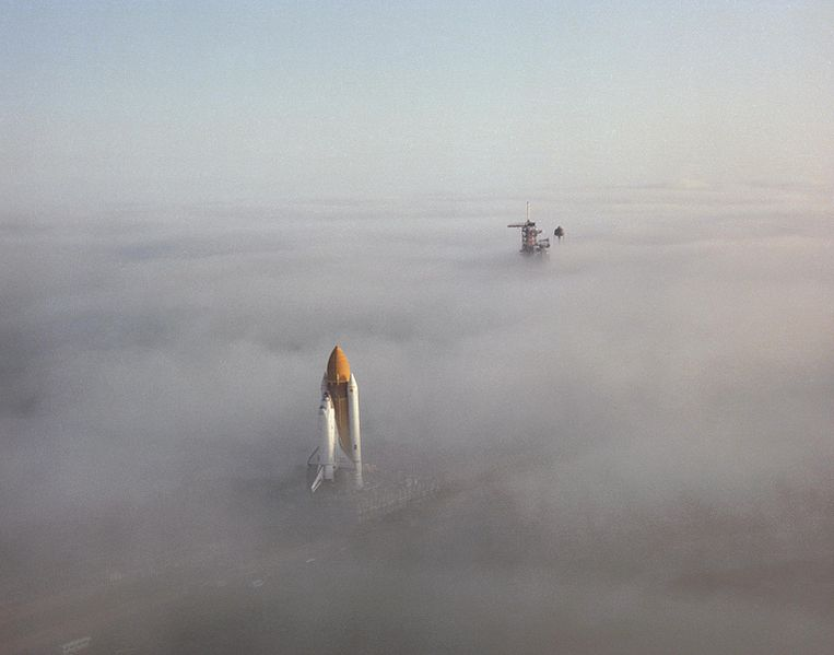 ibeching :     Space Shuttle   Challenger   moving through fog in 1986.