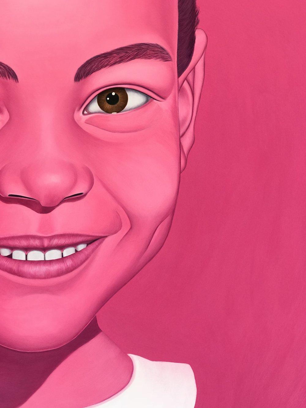 Pink Portrait (Self),  2018. Detail.
