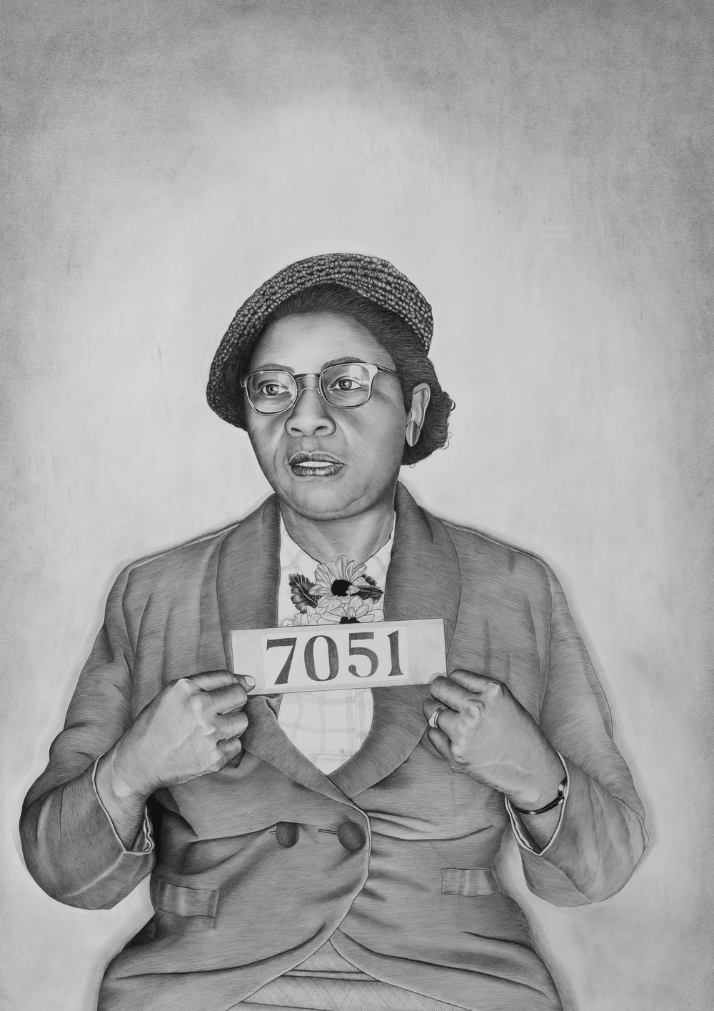 Cora McHaney , 2018. Conté pencil and graphite on paper. From the series,   Mugshot Portraits: Women of the Montgomery Bus Boycott   .