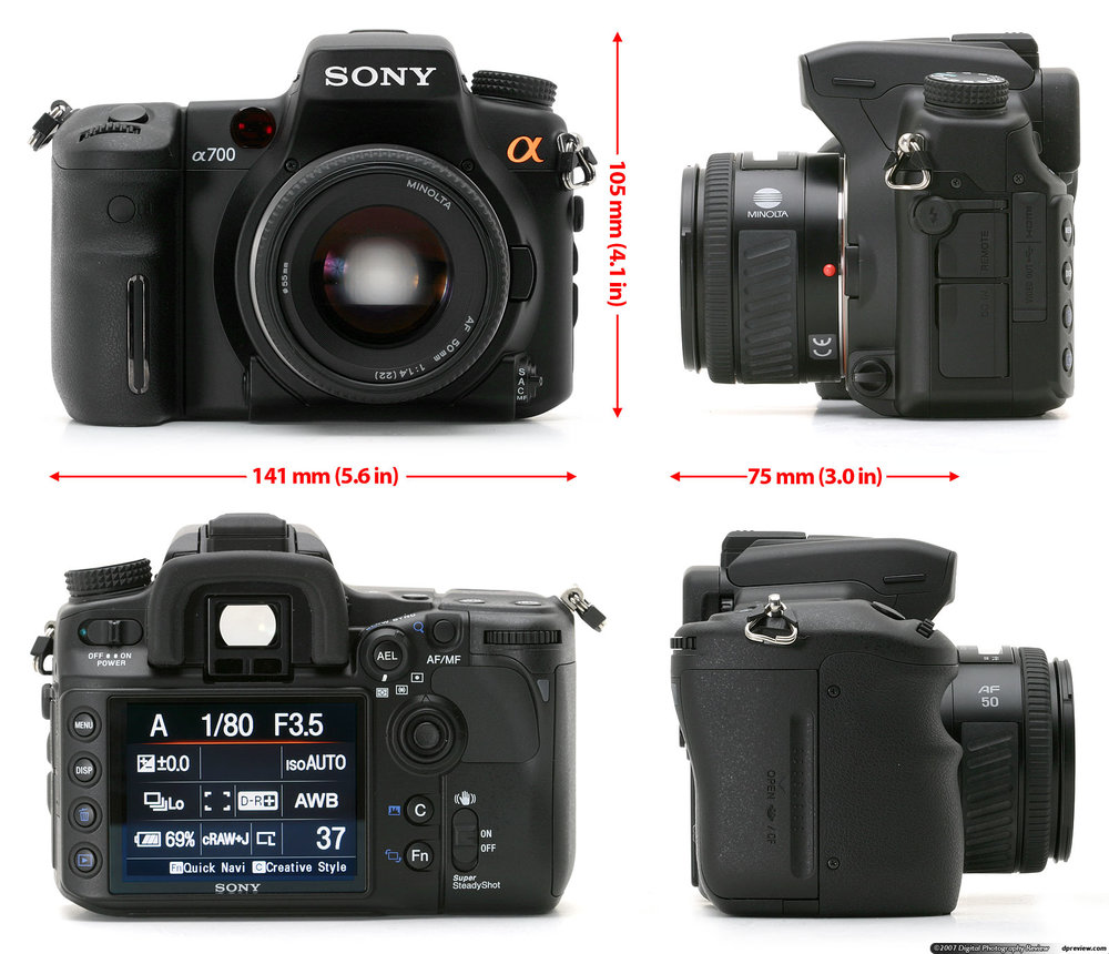 Sony A700 - 12.4 MP, APS-C CMOS sensor, ISO 100-1600, pentaprism view finder, 3