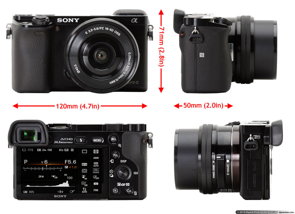 Sony A6000 - 24 MP APS-C CMOS sensor, ISO 100-25,600, electronic 1,440,000 pixel view finder, 3