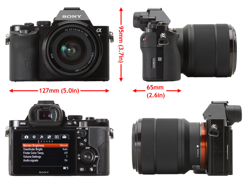 Sony A7 - 24 MP full frame CMOS sensor, ISO 100-25,600, electronic 2,359,000 pixel view finder, 3