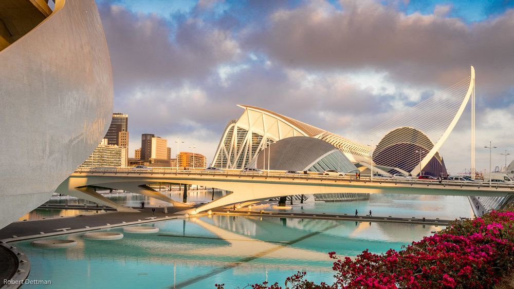 This view includes most of the City of Arts and Sciences buildings except for the Oceanarium. Part of the Opera House is on the left, then the iMax, Science Museum and the Agora, plus two bridges all designed by architect Santiago Calatrava who was born right here in Valencia.