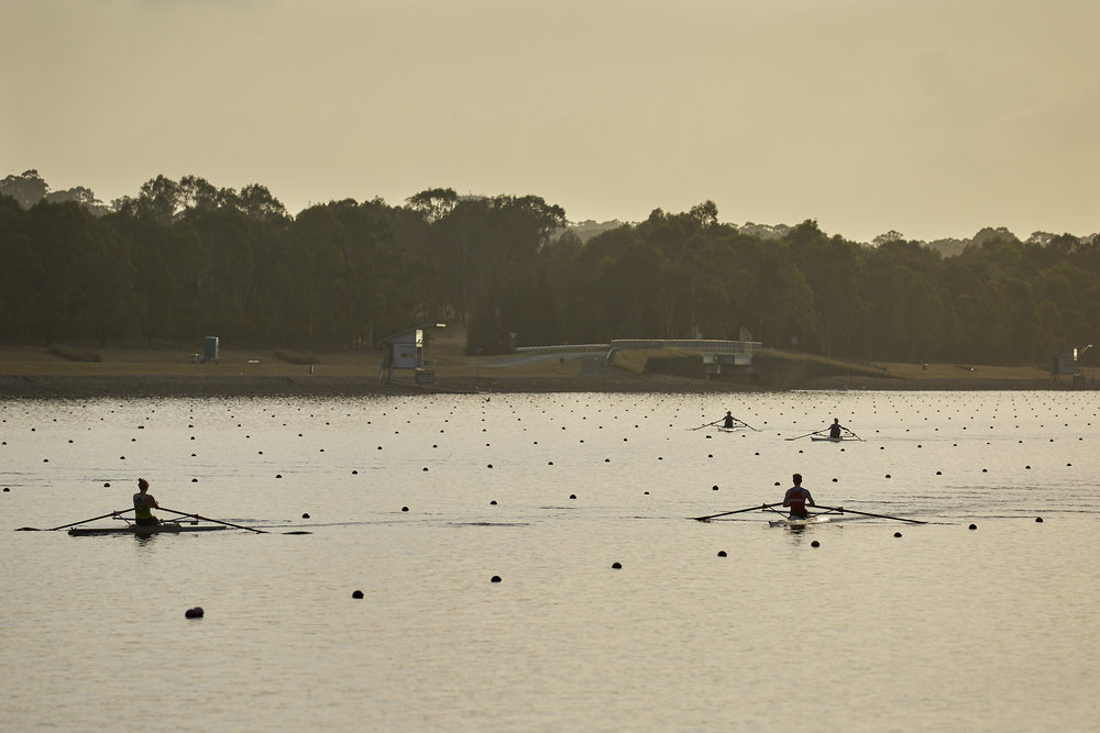 Early morning warm up on the Regatta course.