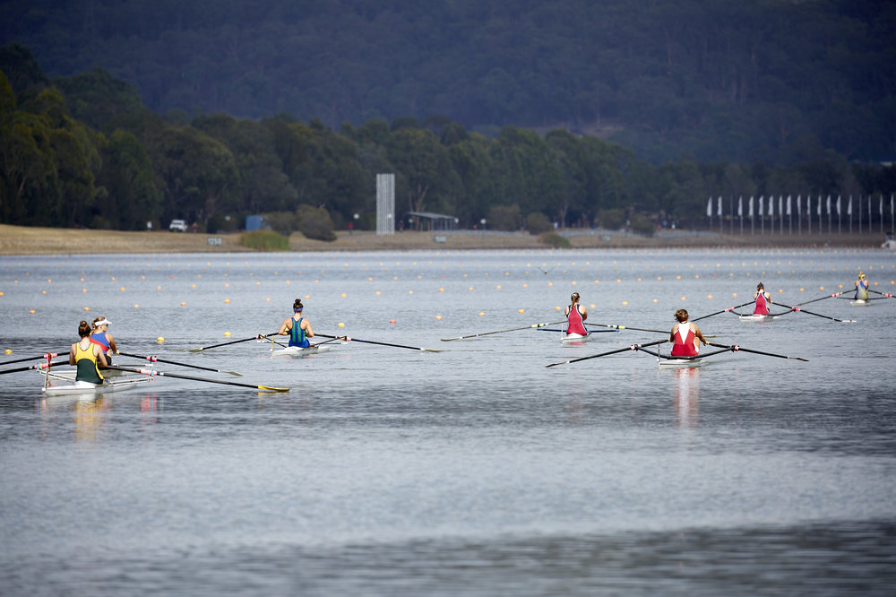 Competitors in the Women's single sculls waiting to be called for their race