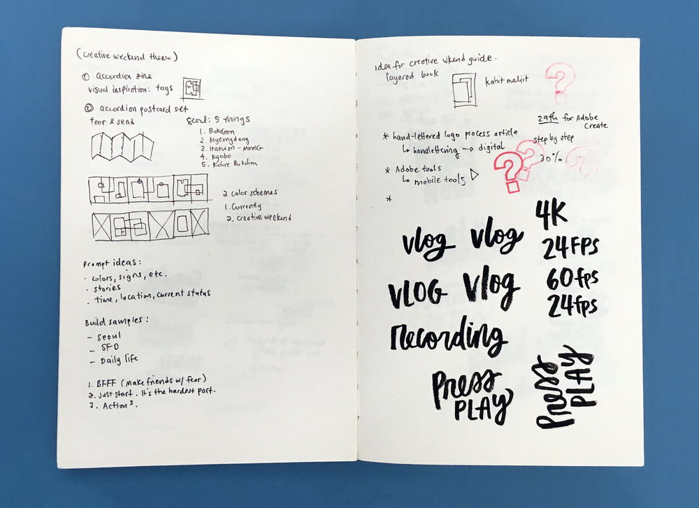 A page from my Residency sketchbook where I wrote out the phrases with a brush pen and took a photo with Adobe Capture to vectorize 'em instantly!