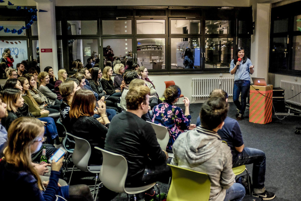 "At a recent event in Berlin. Yes, that's me, speaking! (If you know me, you know I'm usually terrified of being the center of attention. I'd say the Residency has helped me be more confident in talking about my work and sharing process (often the ""messy middle"" my perfectionist side usually hides!)"