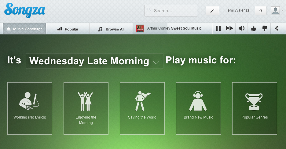 songza's music concierge system helps you choose a playlist