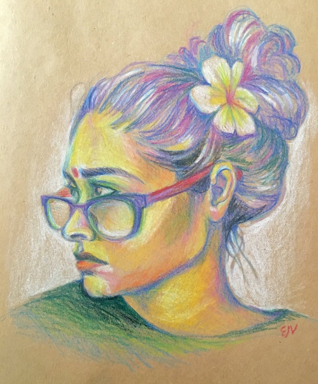 Devyani, colored pencil on toned paper, 2016