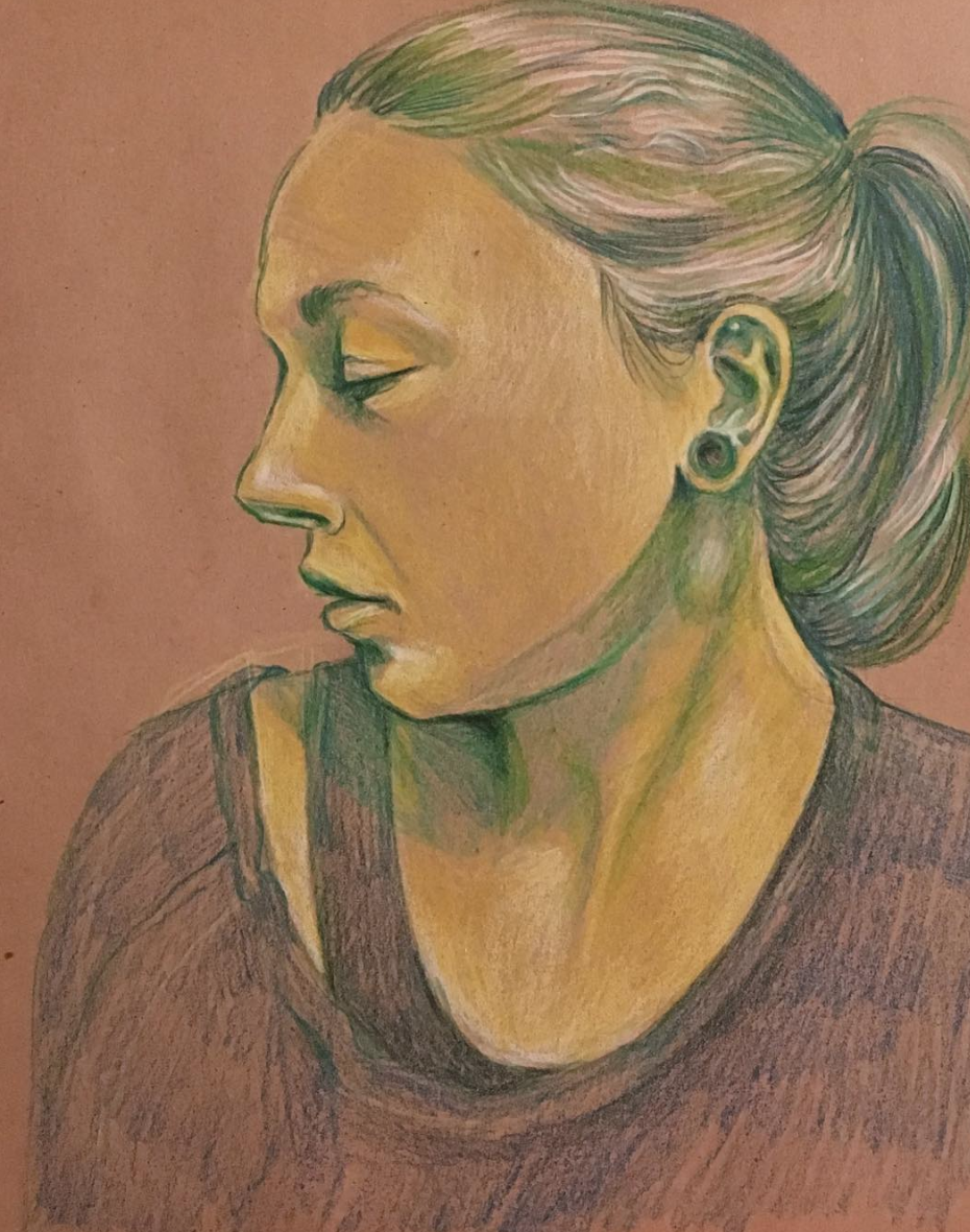 Irina, colored pencil on toned paper, 2018