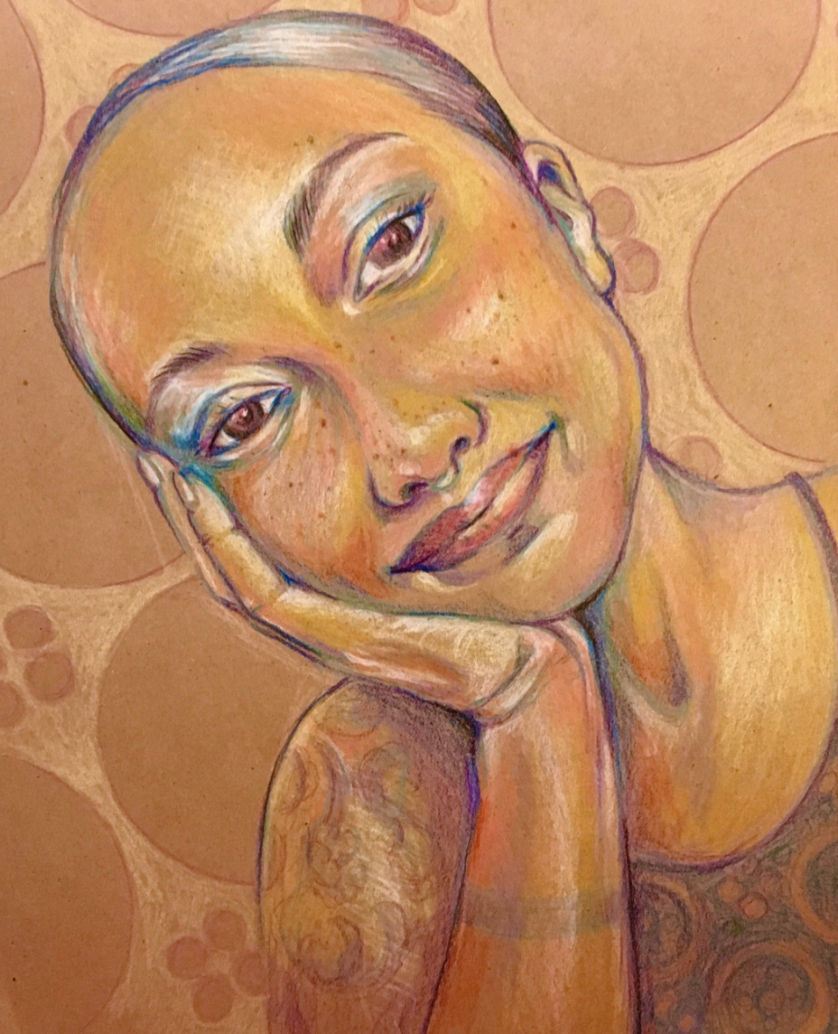 Cass, colored pencil on toned paper, 2018