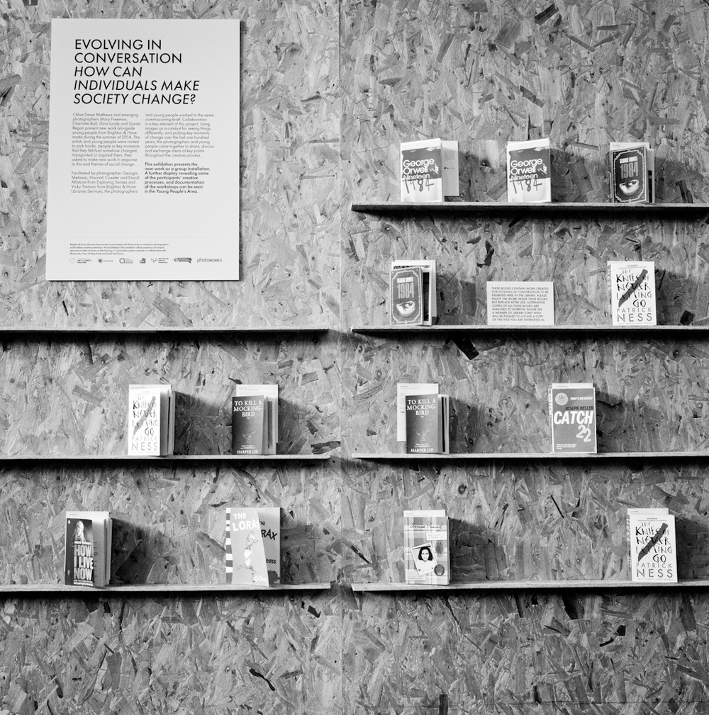 Installation of final work as small prints inserted within the pages of the books that inspired them.