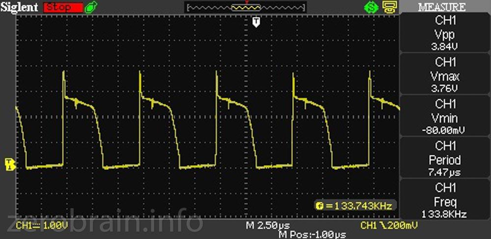 exemplarisch - die LED Spannung mit dem Oszi nachgemessen.