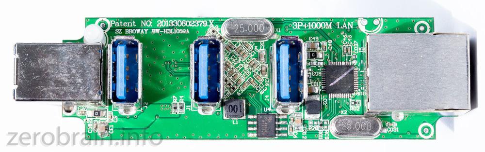 Oberseite mit de USB Buchsen und dem (kleinen) Netzwerk Chip (RTL8163)