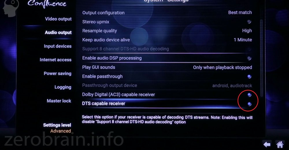 Audio Settings Kodi (Dolby, DTS)