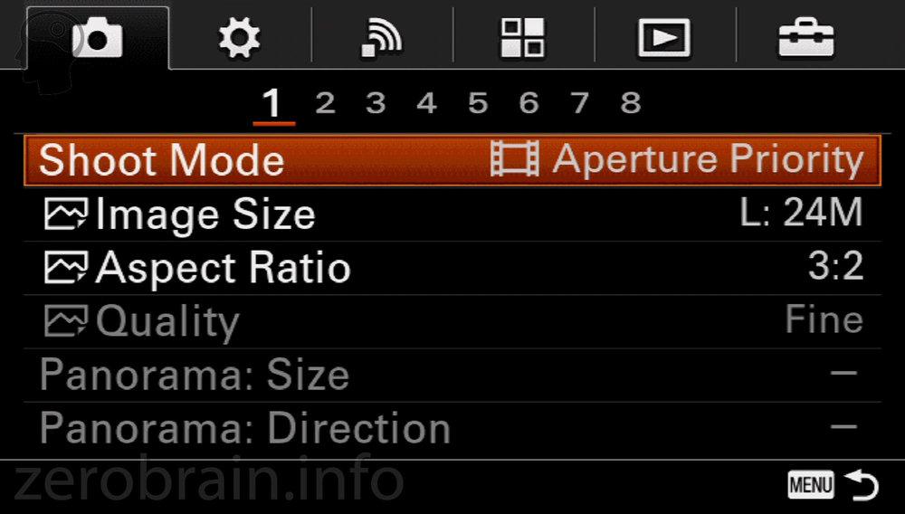 Sony A5100 - Umschaltung das Menü