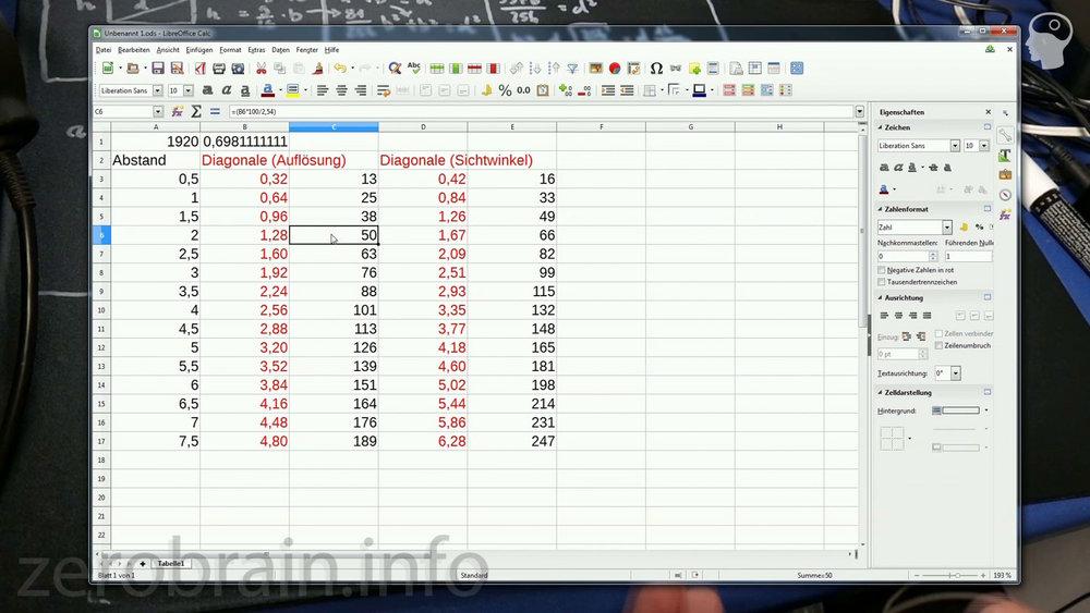 Diagonale, Abstand und Auflösung für 2160 (UHD)