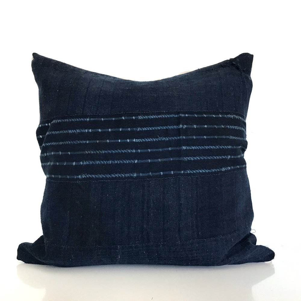 vintage stripe west african indigo cloth pillow cover style 2