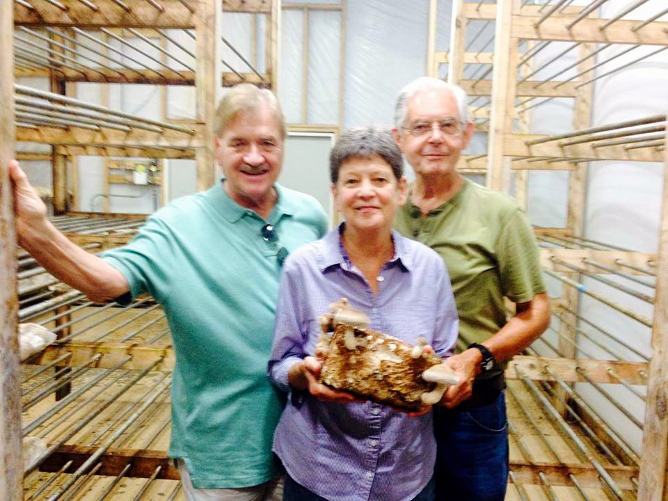 Family visit from cousin, Tom Voglesonger and wife Carol. Like many they were especially interested in how we grow the mushrooms.