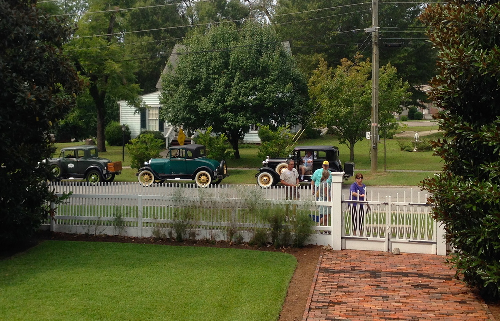 The Model A Ford tour group begins to arrive in Sparta.